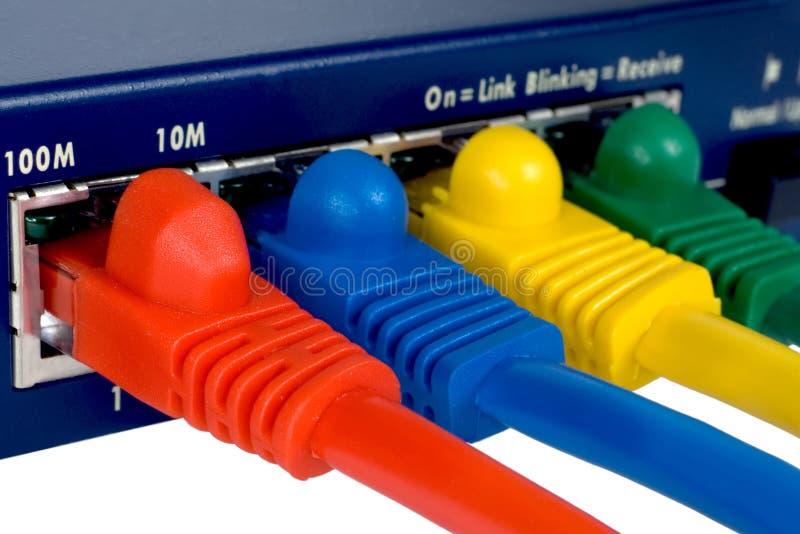 Router e cabos. Macro. fotos de stock