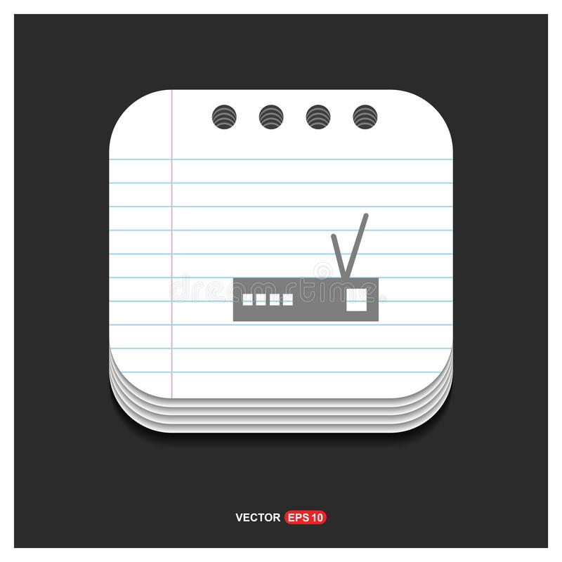 Router icon Gray icon on Notepad Style template Vector EPS 10 Fr stock illustration