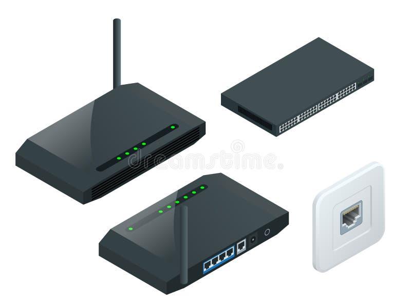 Router isometrico della radio di Wi-Fi illustrazione vettoriale