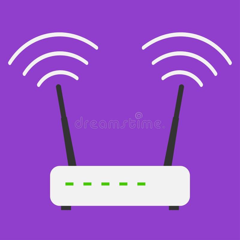 Router liso do wifi do Internet dos ícones do projeto do divertimento no fundo violeta ilustração do vetor