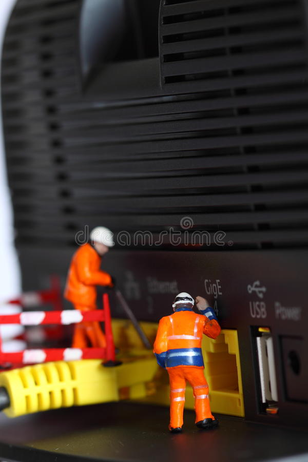Router miniature model workers F royalty free stock photo