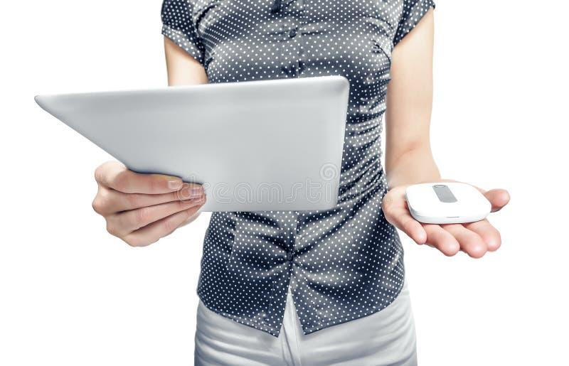 Router mobile con il pc della compressa 3G, 4G o LTE fotografia stock