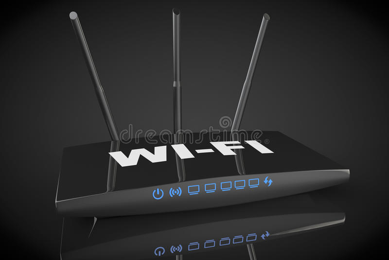 router moderno de 3d WiFi stock de ilustración