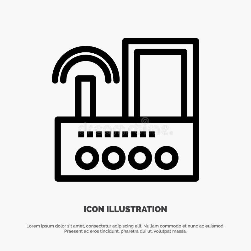 Router, przyrząd, sygnał, Wifi, radio ikony Kreskowy wektor ilustracja wektor