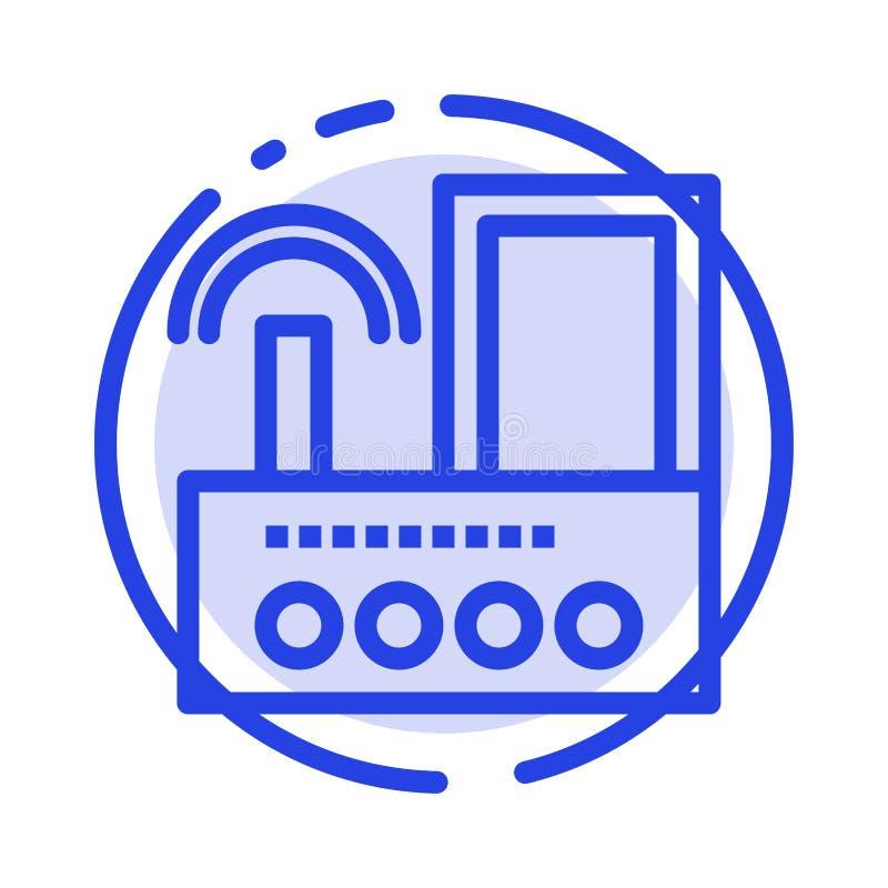 Router, przyrząd, sygnał, Wifi, Radiowy błękit Kropkująca linii linii ikona royalty ilustracja