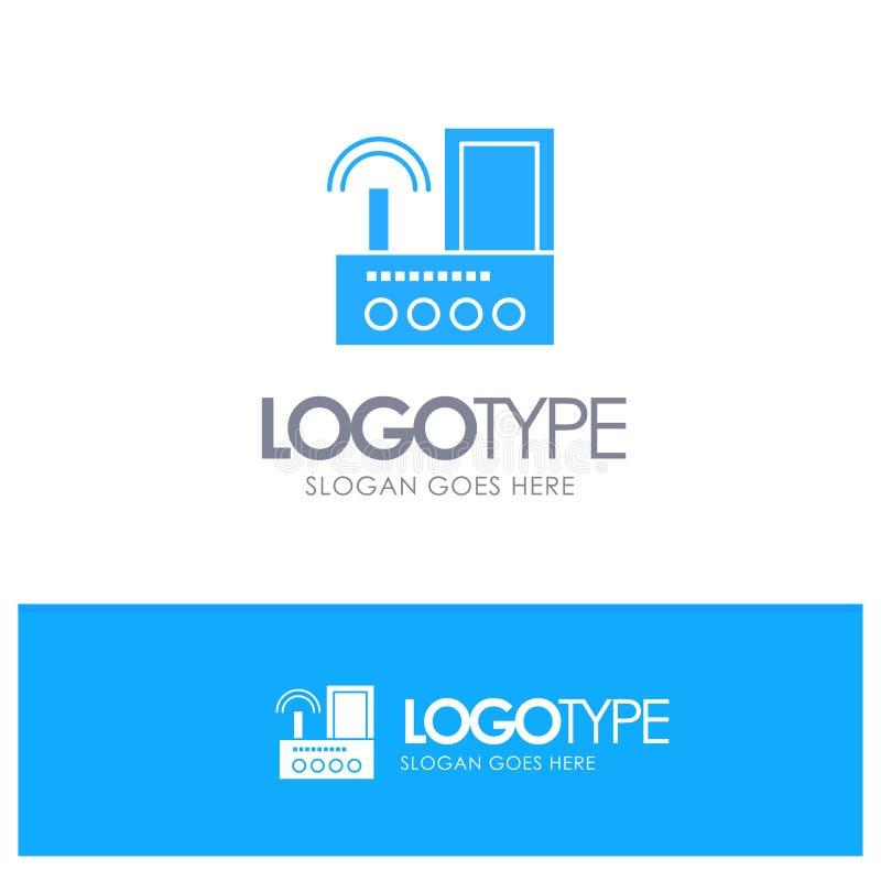 Router, przyrząd, sygnał, Wifi, Radiowy Błękitny Stały logo z miejscem dla tagline ilustracji