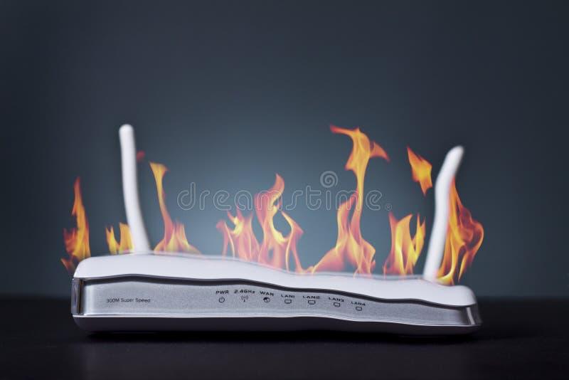 Router su fuoco fotografia stock