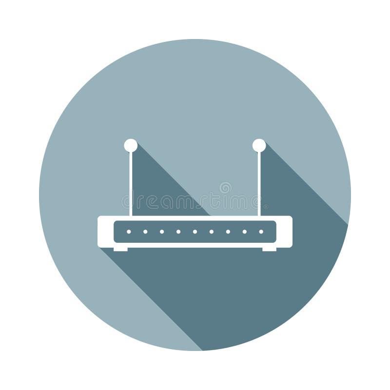 Routerikone in der flachen langen Schattenart Ein der Netzsammlungsikone kann für UI, UX verwendet werden lizenzfreie abbildung
