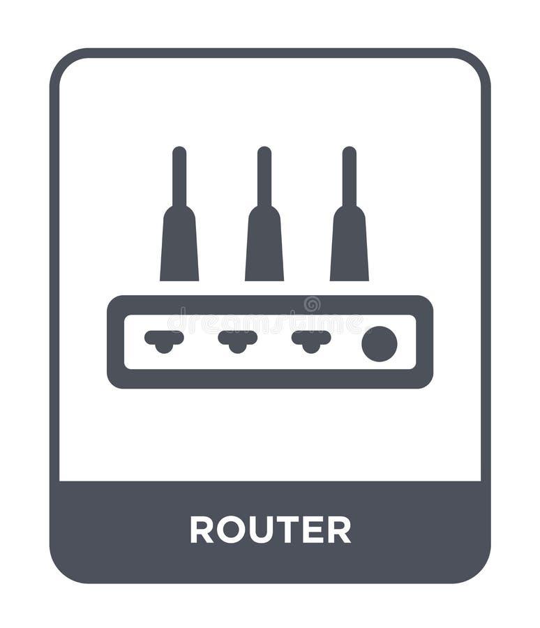 routerpictogram in in ontwerpstijl Routerpictogram op witte achtergrond wordt geïsoleerd die eenvoudige en moderne vlakke symbool royalty-vrije illustratie