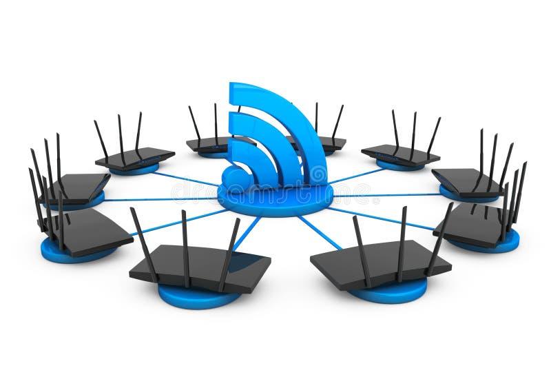Routers runt om tecknet Wi-Fi stock illustrationer