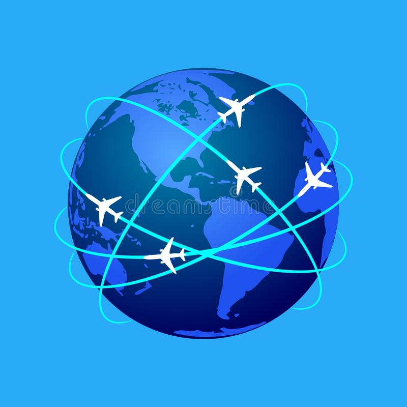 Planes routes. Global travel. Aviation routes around the world as a symbol of global travel and business. Colorful planet earth on blue background with abstract royalty free illustration