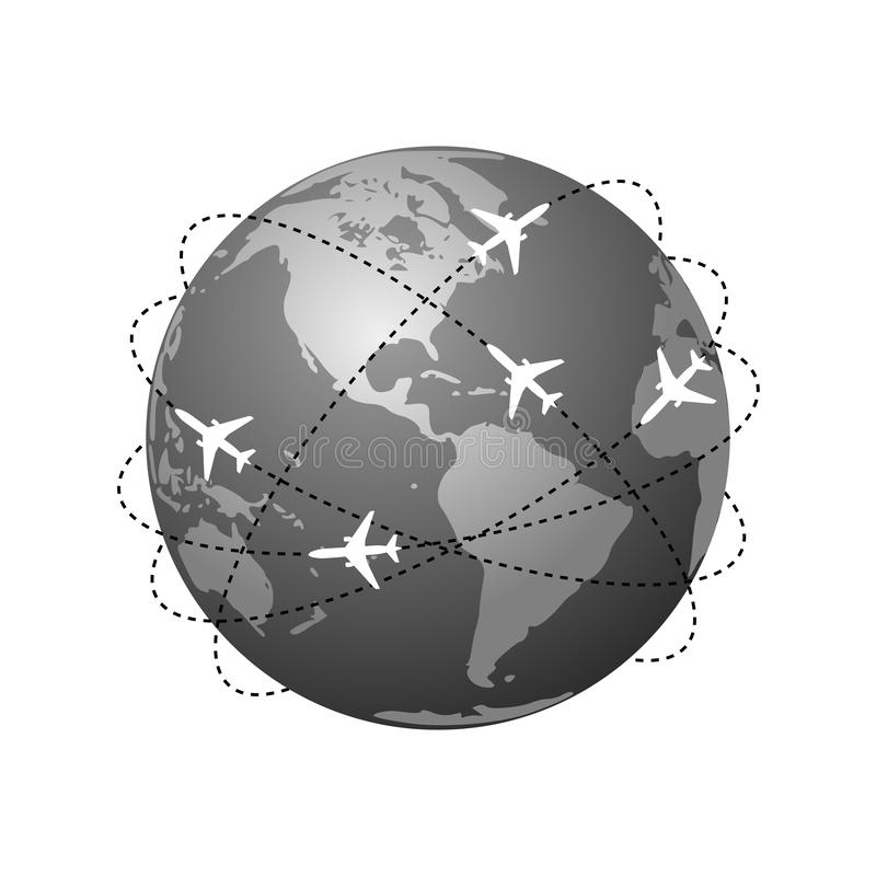 Planes routes. Global travel symbol. Aviation routes around the world as a symbol of global travel and business. Isolated planet Earth on white background with royalty free illustration
