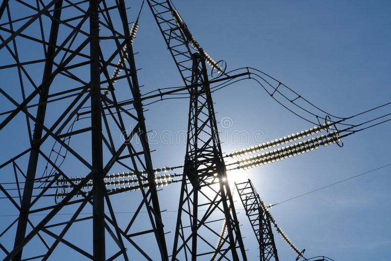 Routes d'une électricité. image stock