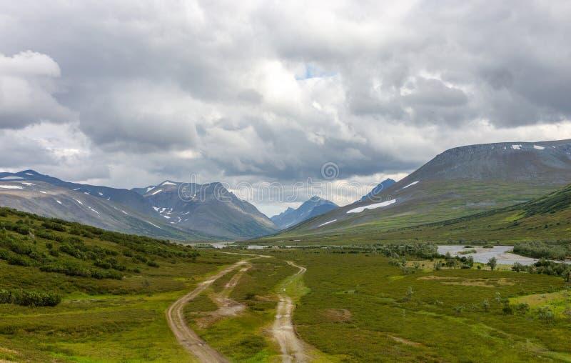 Routes dans la toundra pendant l'été photographie stock libre de droits