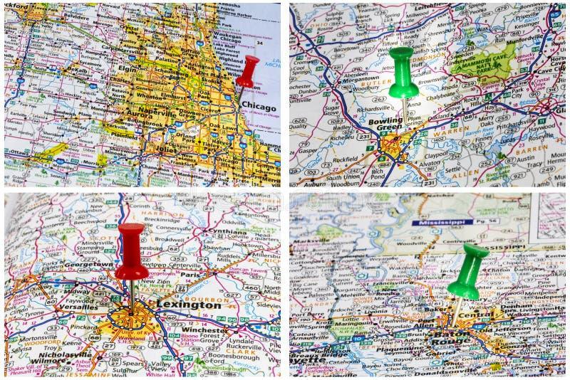Routes de l'Amérique de voyage de cartes photo libre de droits