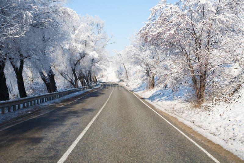Routes de l'hiver images libres de droits