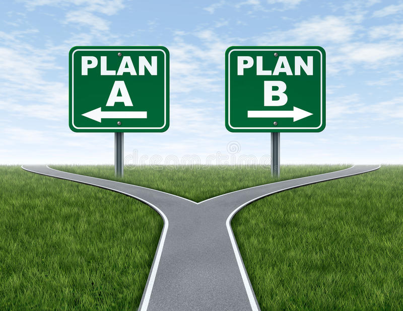 Routes en travers avec des signes de route du plan B du plan A illustration stock