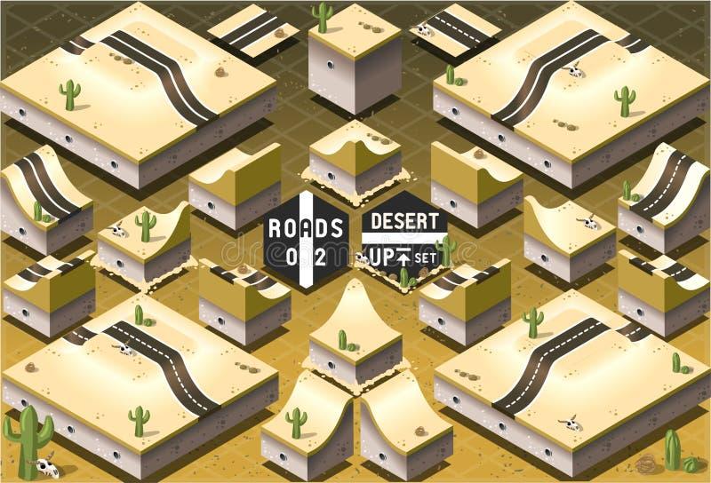 Routes isométriques sur le terrain de désert de deux niveaux illustration libre de droits