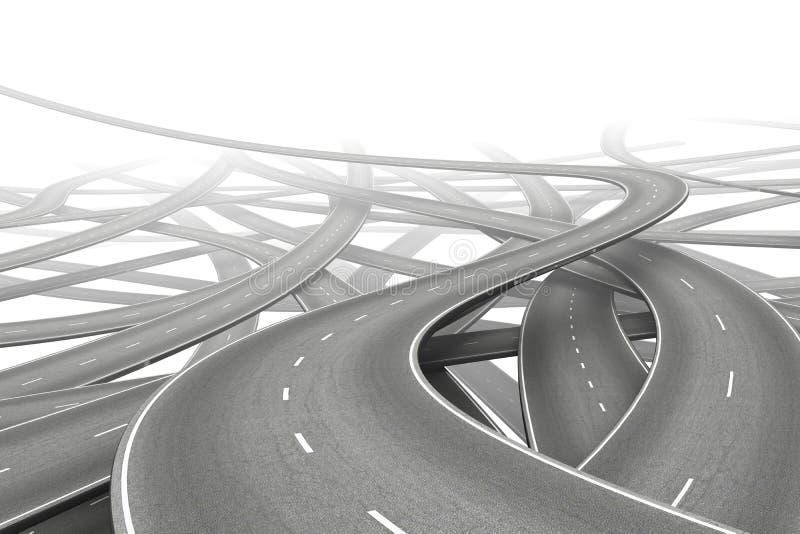 Routes multiples illustration de vecteur