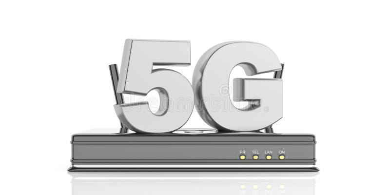 routeur à grande vitesse de wifi de connexion réseau 5G d'isolement sur le fond blanc illustration 3D illustration libre de droits