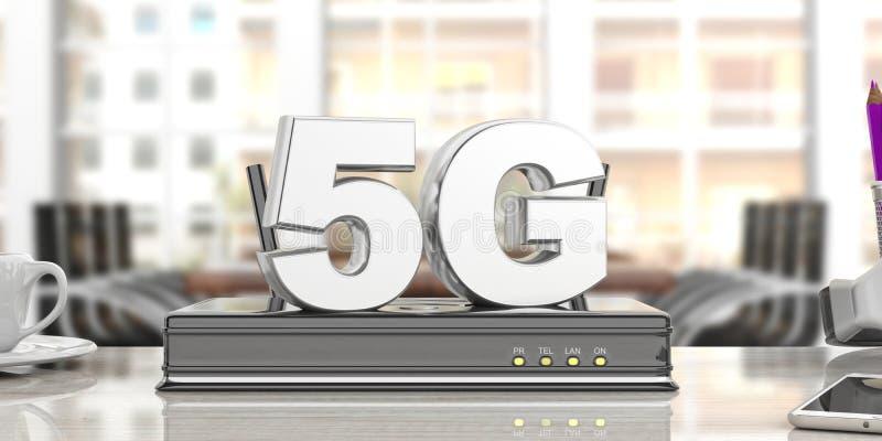 routeur à grande vitesse de wifi de connexion réseau 5G, fond de local commercial de tache floue illustration 3D illustration libre de droits