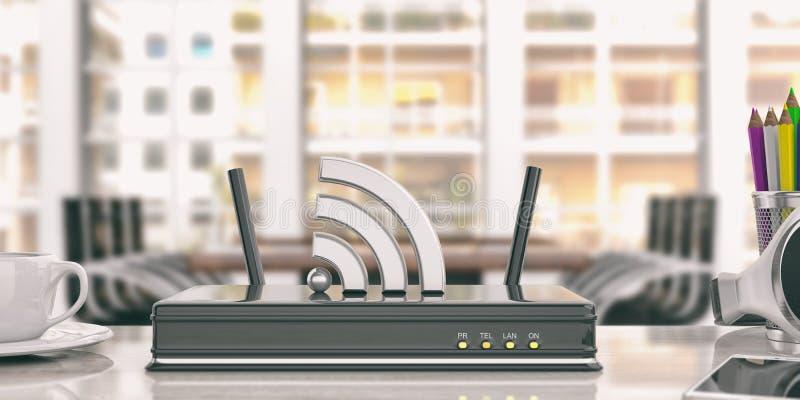 Routeur de Wifi à un arrière-plan de bureau illustration 3D illustration libre de droits