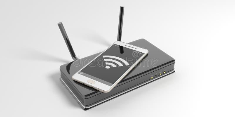 Routeur de Wifi et un smartphone sur le fond blanc illustration 3D illustration de vecteur