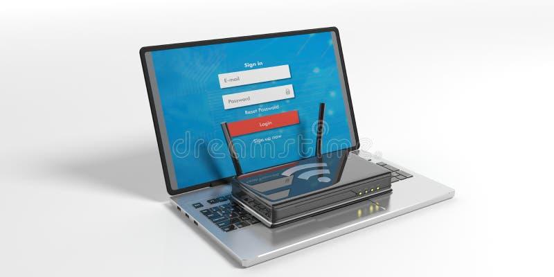 Routeur de Wifi sur un ordinateur portable - fond blanc illustration 3D illustration de vecteur