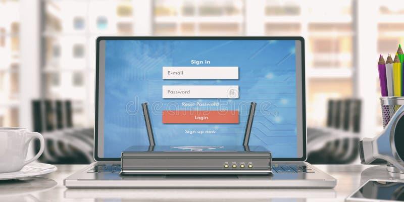 Routeur de Wifi sur un ordinateur portable - fond de bureau illustration 3D illustration de vecteur