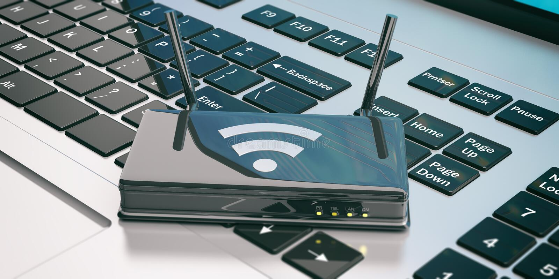 Routeur de Wifi sur un ordinateur portable illustration 3D illustration libre de droits