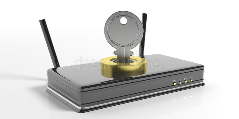 Routeur et verrou de sécurité de Wifi sur le fond blanc illustration 3D illustration stock