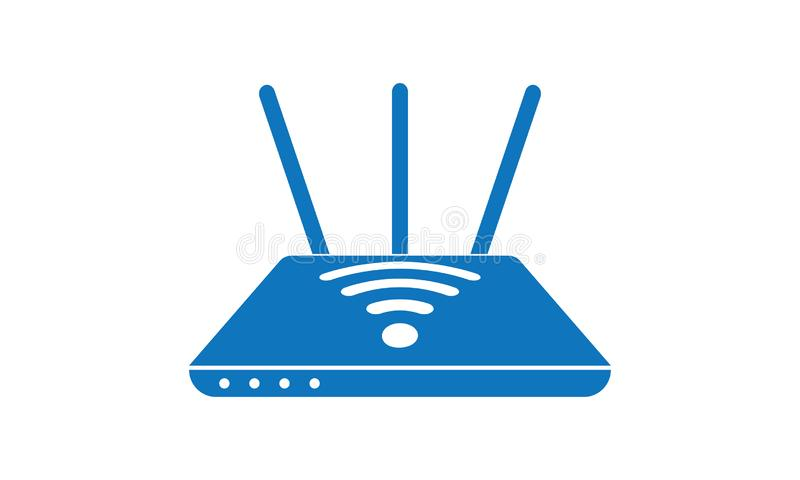 Routeur sans fil de modem d'Ethernet, routeur avec le signal de WiFi illustration de vecteur