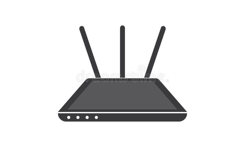 Routeur sans fil de modem d'Ethernet, routeur avec le signal de WiFi illustration stock