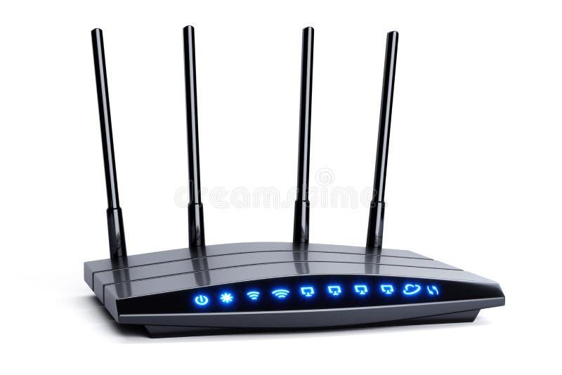 Routeur sans fil de noir de Wi-Fi avec quatre antennes et indicateurs bleus illustration de vecteur