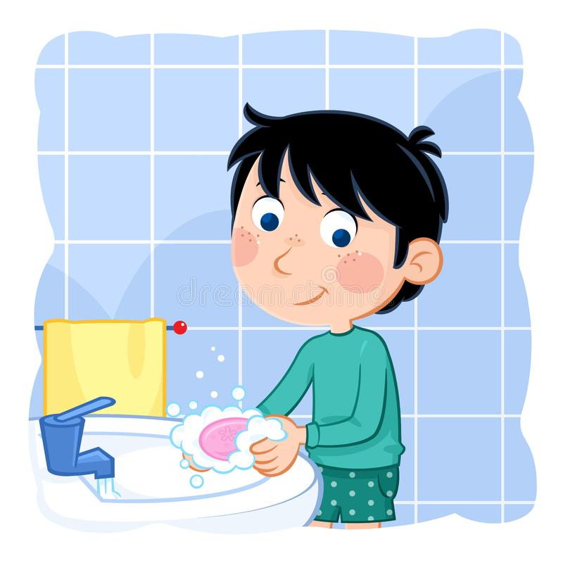 Daily routine actions - Washing hands with soap and water. Cute cartoon illustration - Hygiene - little boy with dark hair washing hands in the bathroom - jpg stock illustration