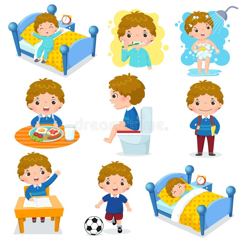 Daily routine activities for kids with cute boy. Illustration of daily routine activities for kids with cute boy stock illustration