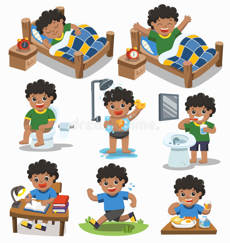 The daily routine of African american boy on a white background. Isolated vector. The daily routine of African american boy on a white background. [sleep, wake vector illustration