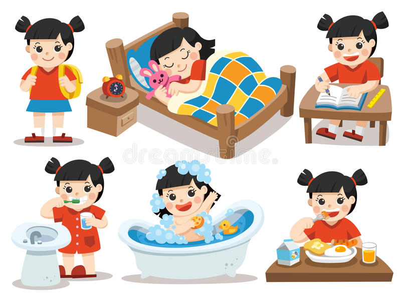 The daily routine of Asian girl on a white background. Isolated vector. The daily routine of Asian girl on a white background. [sleep, brush teeth, take a bath stock illustration