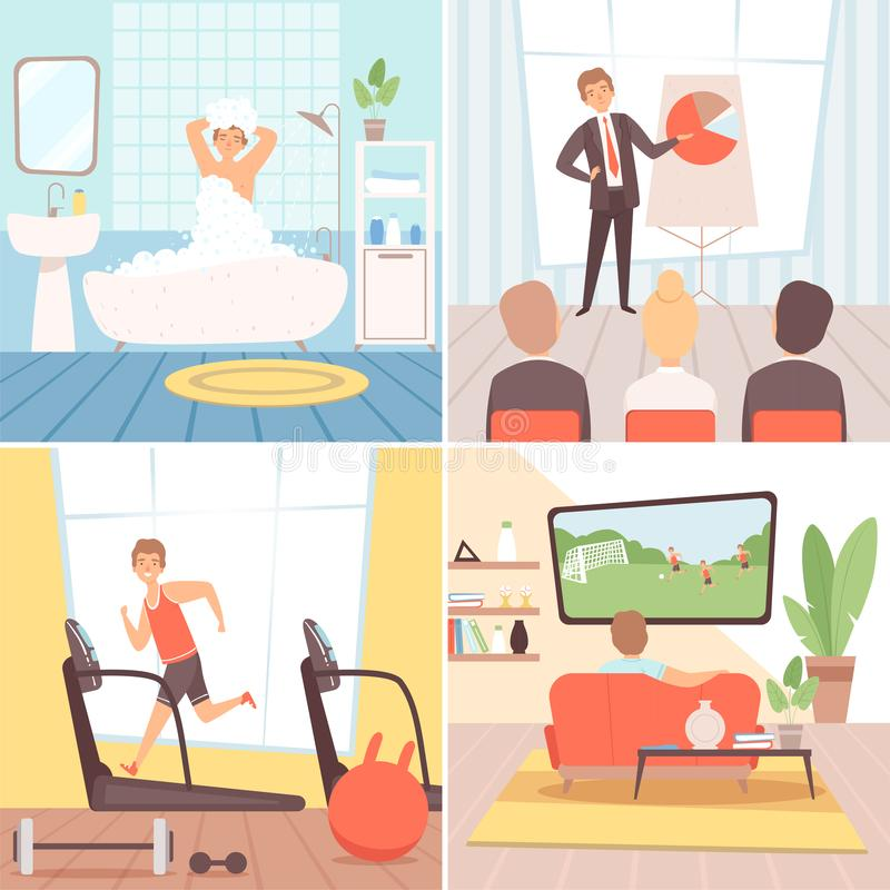 Daily routine background. Busy businessman everyday lifestyle morning afternoon evening night vector cartoon background stock illustration