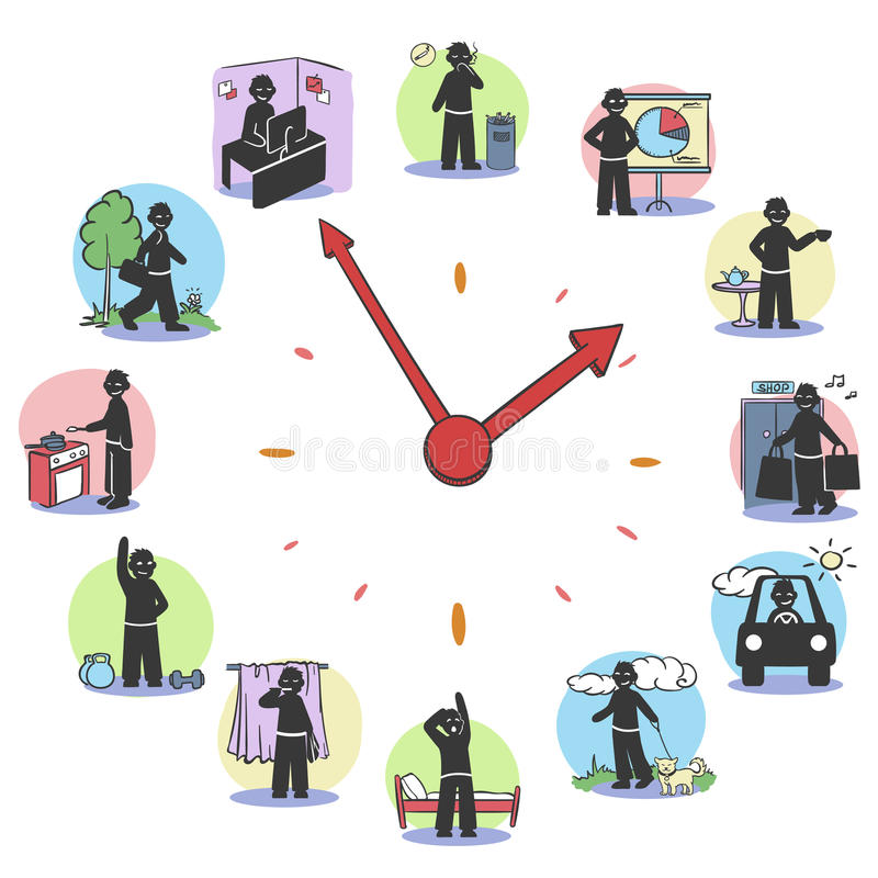 Daily Routine Clock Characters Concept. With man doing different activities during day isolated vector illustration stock illustration
