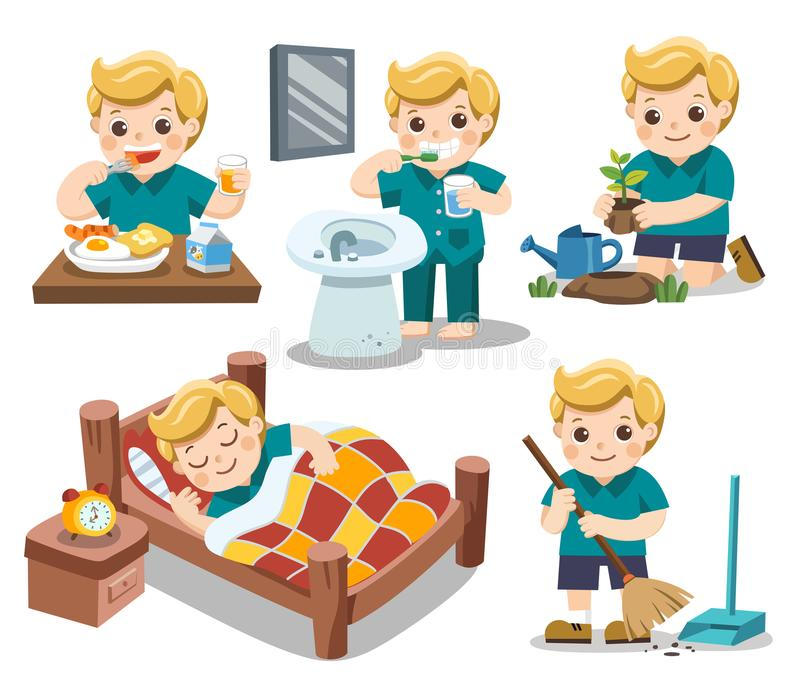 The daily routine of a cute boy. The daily routine of a cute boy on a white background. [sleep, brush teeth, clean, eat , plant a tree]. Isolated vector stock illustration