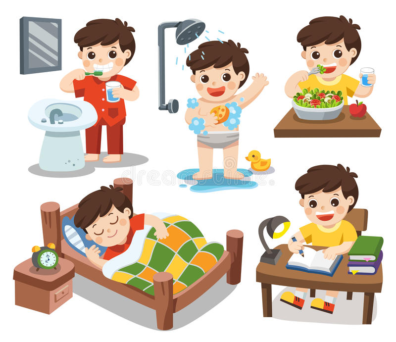 The daily routine of a cute boy on a white background. Isolated vector. The daily routine of a cute boy on a white background. [sleep, brush teeth, take a royalty free illustration