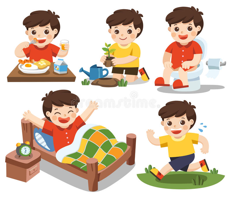 The daily routine of a cute boy on a white background. Isolated vector. The daily routine of a cute boy on a white background. [wake up, eat , sitting on the stock illustration