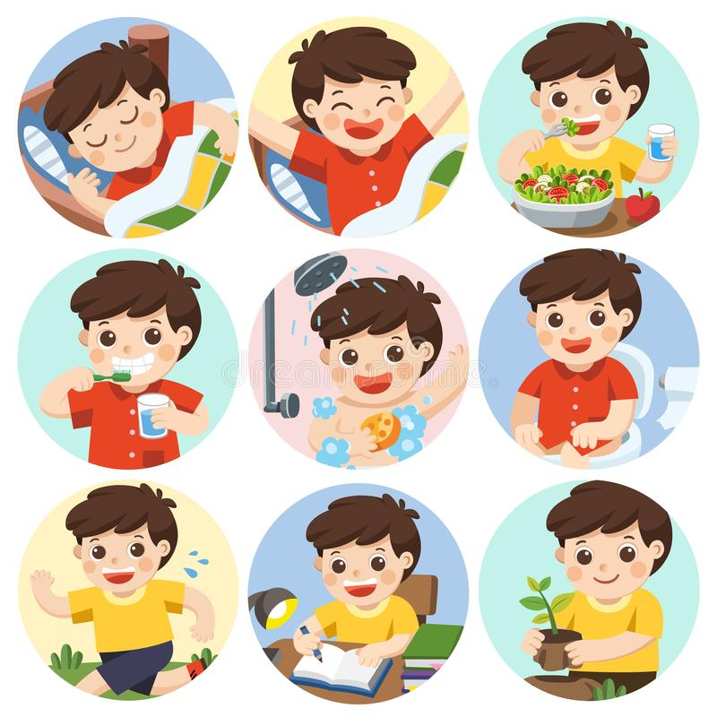 The daily routine of a cute boy. The daily routine of a cute boy on a white background. [sleep, brush teeth, take a bath, eat, wake up, draw a picture, sitting vector illustration