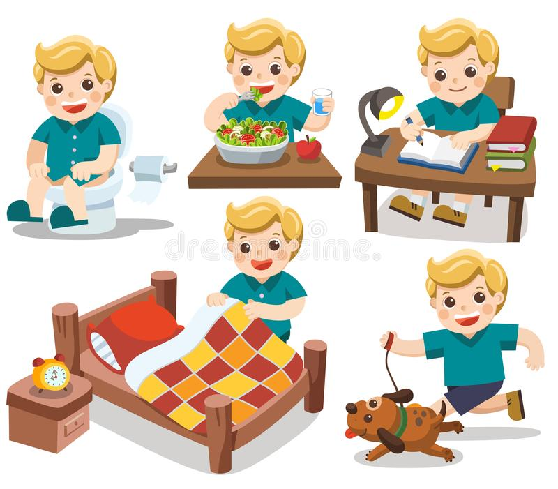 The daily routine of A cute boy. The daily routine of A cute boy on a white background.[wake up, take a shower, Drawing, Play guitar, run]. Isolated vector royalty free illustration