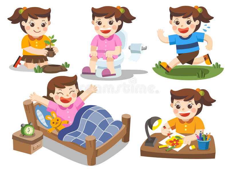 The daily routine of a cute girl on a white background. The daily routine of a cute girl on a white background stock illustration