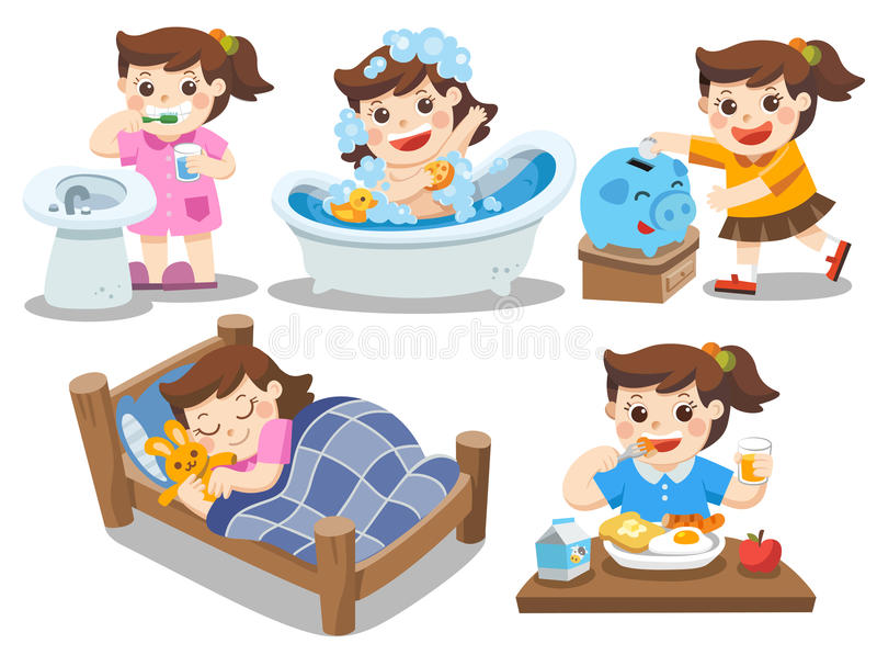 The daily routine of a cute girl on a white background royalty free illustration
