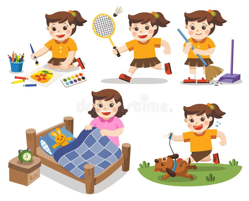 The daily routine of A cute girl on a white background. Isolated vector. [Make a bed, Do homework , Drawing, Play badminton, Run with his dog, Clean stock illustration