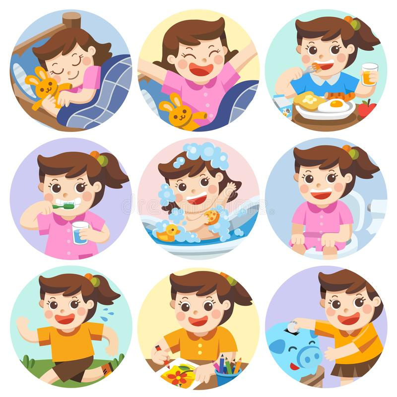 The daily routine of a cute girl on a white background. [sleep, brush teeth, take a bath, eat, saving money, wake up, draw a picture, sitting on the toilet stock illustration