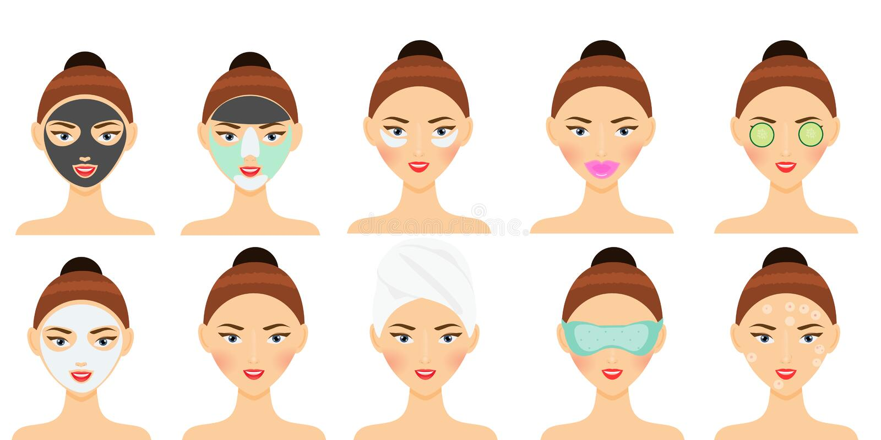 Routine de soins de la peau La femme faisant le masque facial, la correction d'oeil, la correction de lèvres et toute autre beaut illustration de vecteur